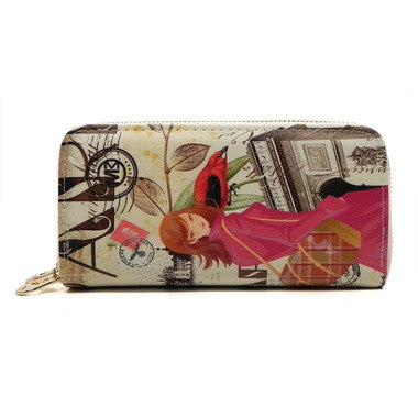 Tour Illustration Double Zip Around Wallet Wristlet