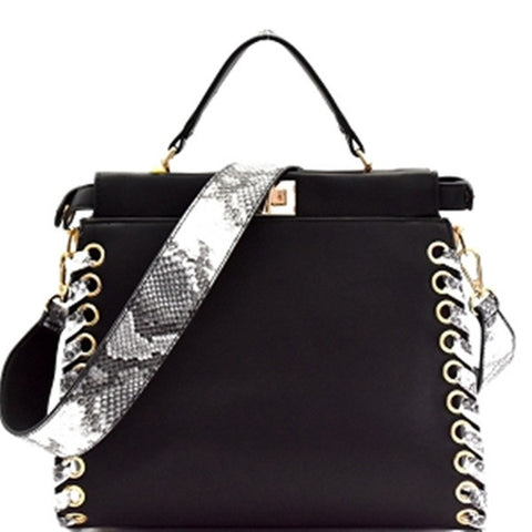 Snake Print Accent Whipstitched Turn-Lock Satchel