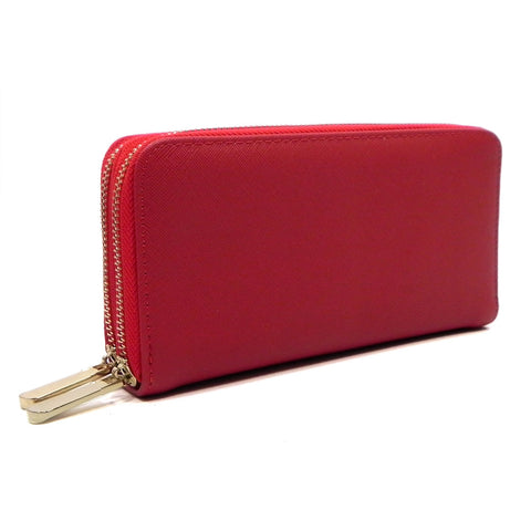 Textured Double Zip Around Wallet Wristlet