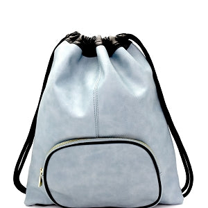 Lightweight Drawstring Fashion Backpack Blue