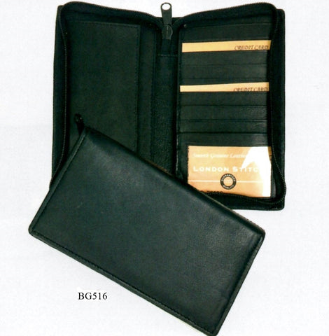 Leather - Zippered checkbook Wallet