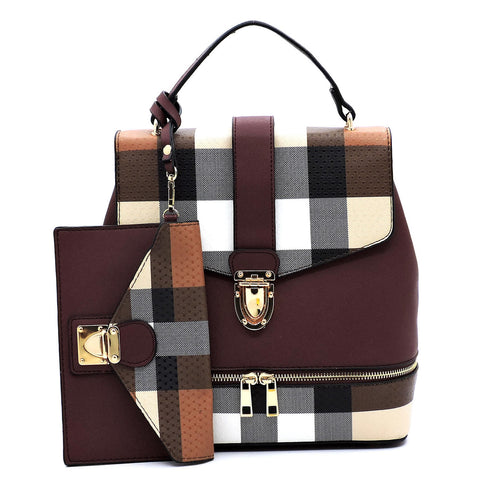 Backpack - 2 Piece - Plaid Convertible Satchel / Backpack