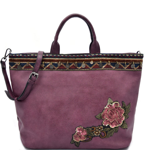 Bohemian Beads And Sequins Embroidered Tote Bag