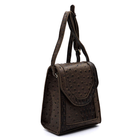 Ostrich Croc Flap Crossbody Bag Cell Phone Purse