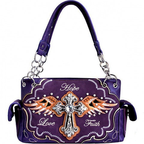 Concealed  Weapon - Western Rhinestone Cross HandBag