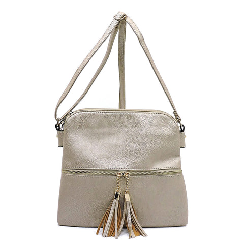 Tassel Zip Multi Compartment Crossbody Bag