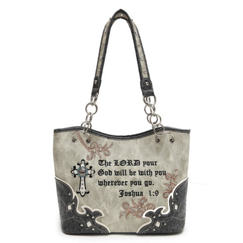 Western Scripture - Concealed Weapon Handbag-Grey