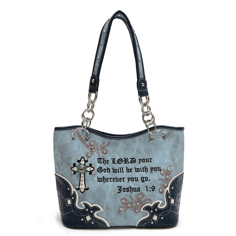 Western Scripture - Concealed Weapon Handbag-Navy