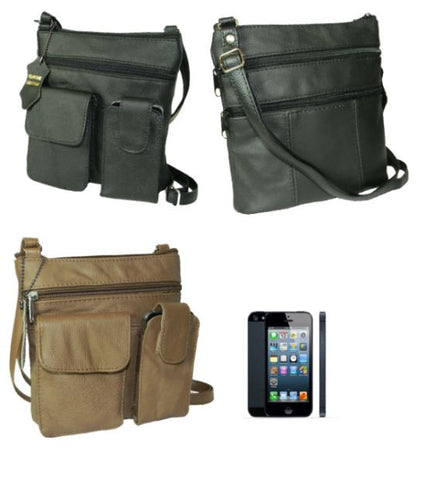 "Leather - Messenger Sidebag - fits an iPhone - 8"" x 8.5"""