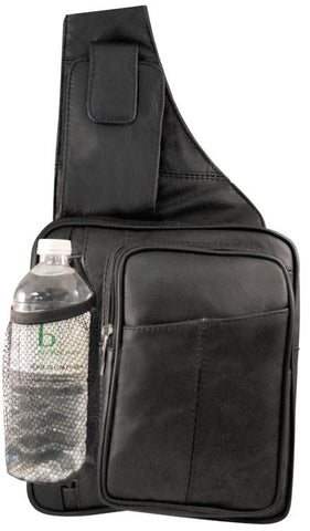 Leather-Large sling bag with water bottle holder