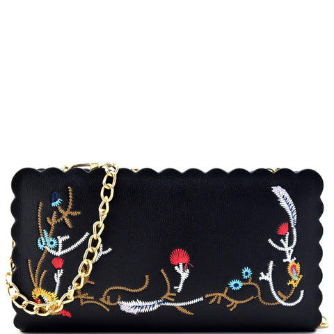 Wavy Cut Embroidered Zip Around Wallet