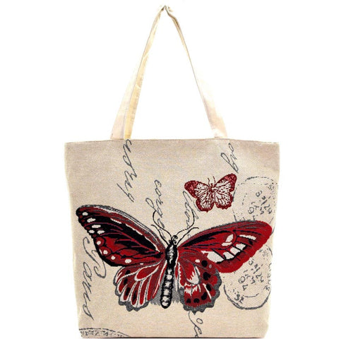 Butterfly Print Canvas Shopper Tote