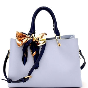 Scarf Accent Two-Tone 3-Compartment Satchel