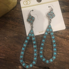 Load image into Gallery viewer, Boho silver & turquoise earring