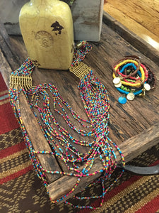 Hot summer color multi bead necklace