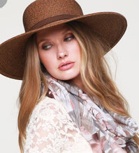 Load image into Gallery viewer, Dark natural straw hat with faux leather hatband