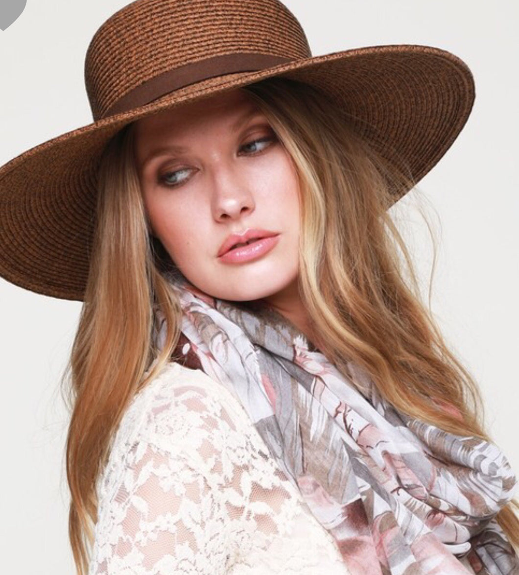 Dark natural straw hat with faux leather hatband