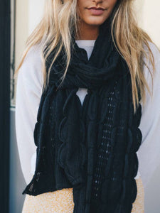 Black ruffle knit scarf