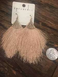 Fine Thread Sand  tassel hook earrings