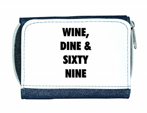 Wine dine and sixty nine funny rude offensive anti valentines day gift purse blue