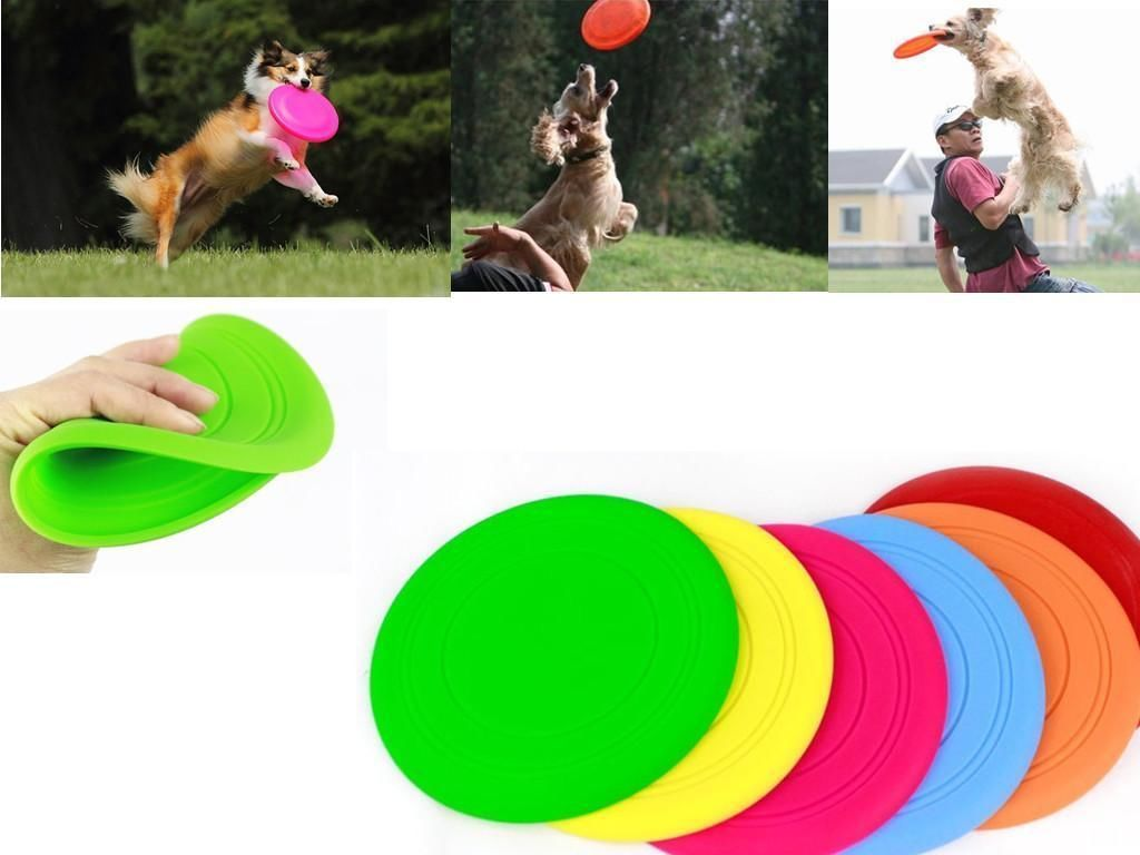 Pets Dogs Silicone Outdoor Training Puppy Flying Discs Dog Fetch Toy Pet Dog Flying Disc Tooth Resistant Training Toy