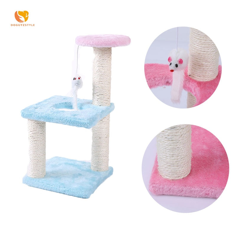 Funny Plush Cat Scratcher Tree Pet Play Toy Mouse Scratching Post Climbing Frame Cat Furniture Pet Product Blue Pink