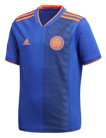 adidas Columbia Youth 2018 Away Soccer Jersey - Blue - YM