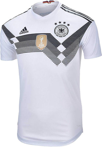 adidas Germany Mens 2018 Authentic Home Soccer Jersey - White-Black - XL