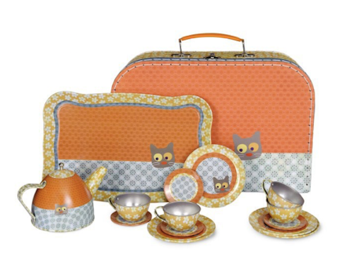 Tea Set - Orange Cat design