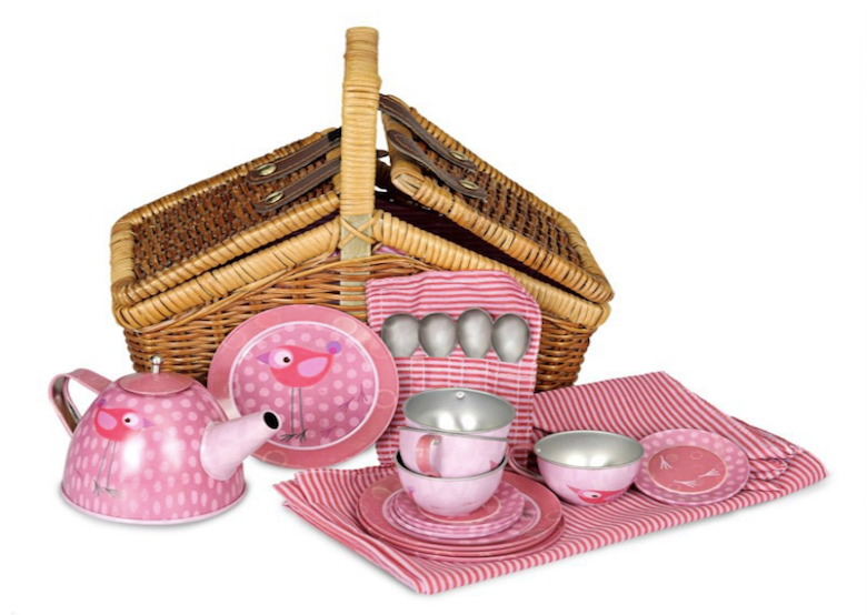 Tea Set - Pink Bird Basket