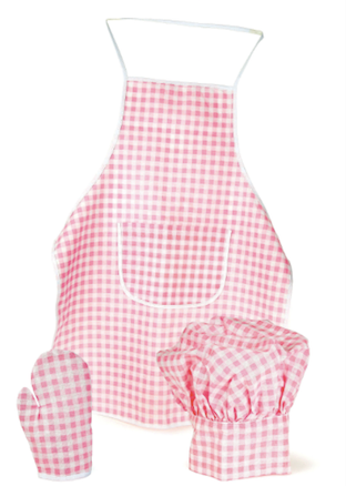 Apron Oven Glove & Chef Hat - Pink Gingham