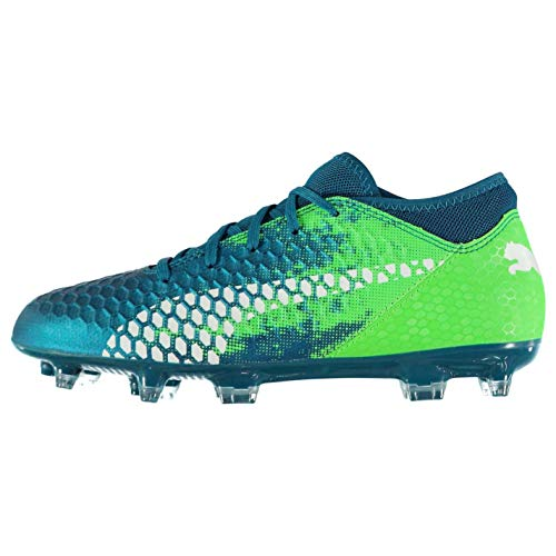 bd761752052 Puma Future 18.4 Firm Ground Football Boots Juniors Blue Green Soccer –  Killer Cleats