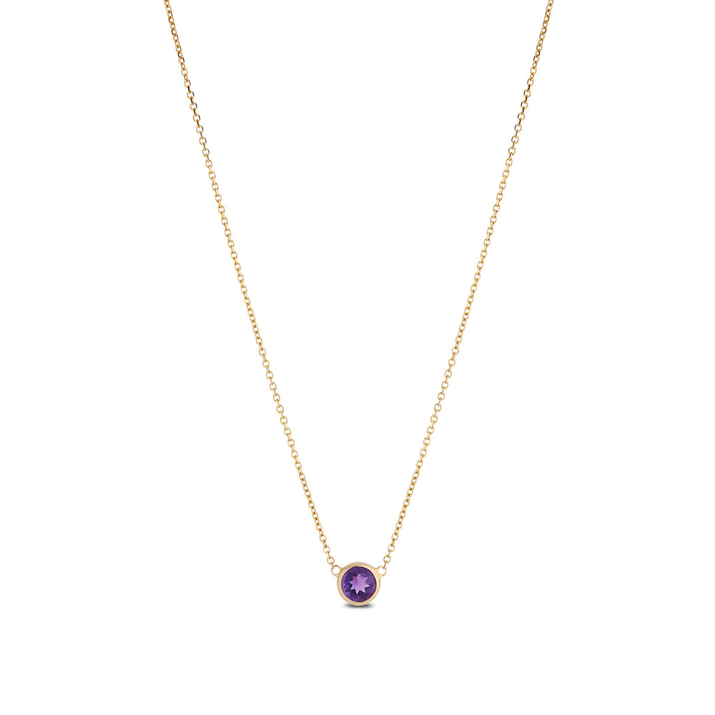 Amethyst Dew Drop Pendant in 14K Yellow Gold