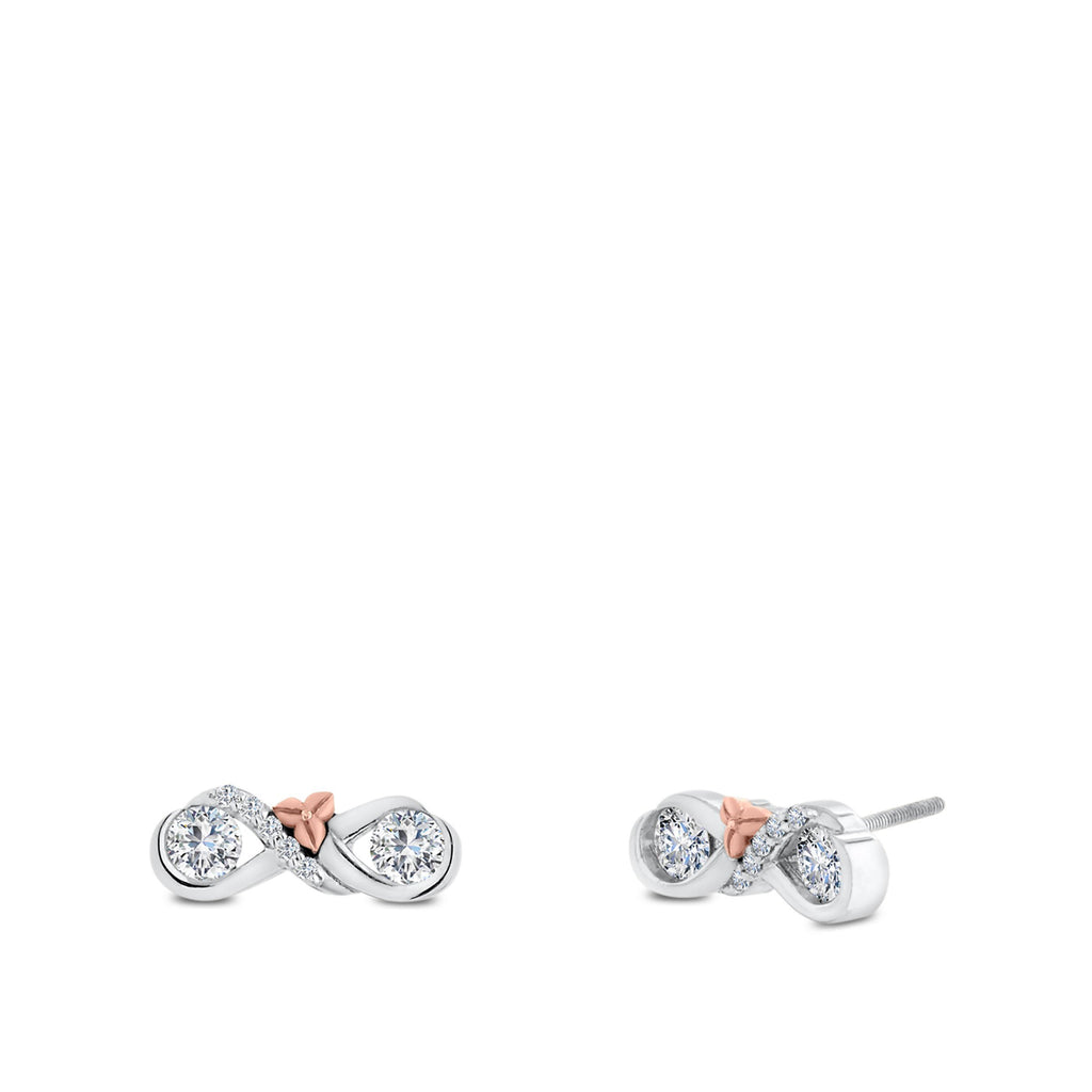 Devotion Love & Cherish Diamond Stud Earrings In 18K White & Rose Gold