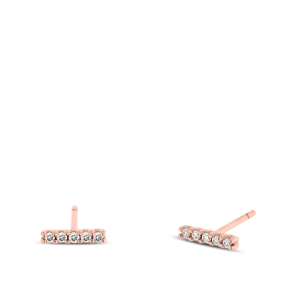 Diamond Bar Stick Earrings in Rose Gold