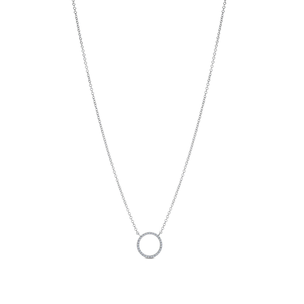 Diamond Circle Pendant Necklace in 14K White Gold