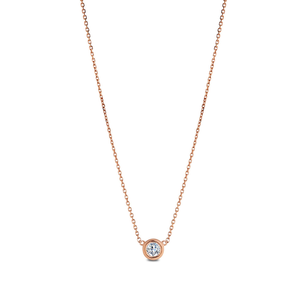 1/2CT Rose Bezel Dew Drop Necklace with Diamond