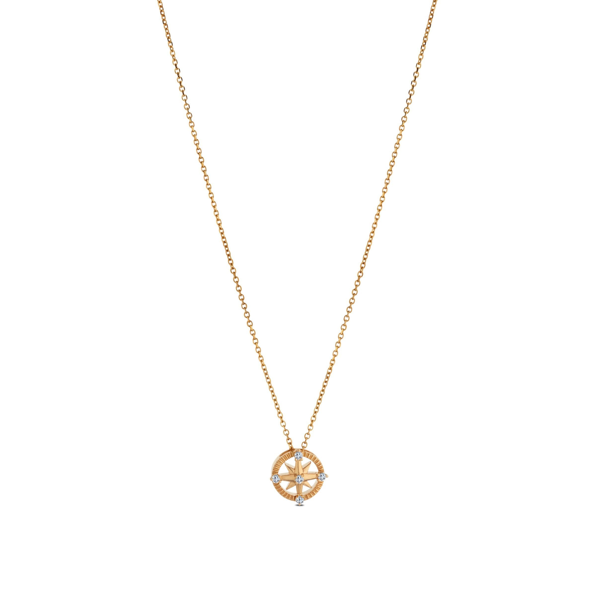 Diamond Compass Pendant Necklace in 14K Yellow Gold