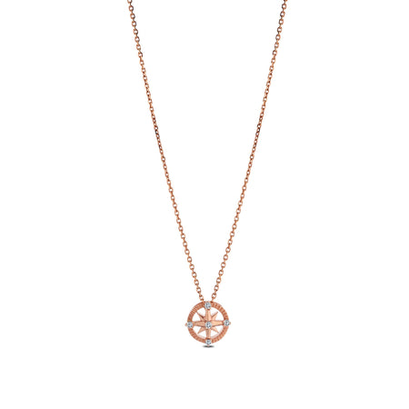 Diamond Compass Pendant Necklace in 14K Rose Gold