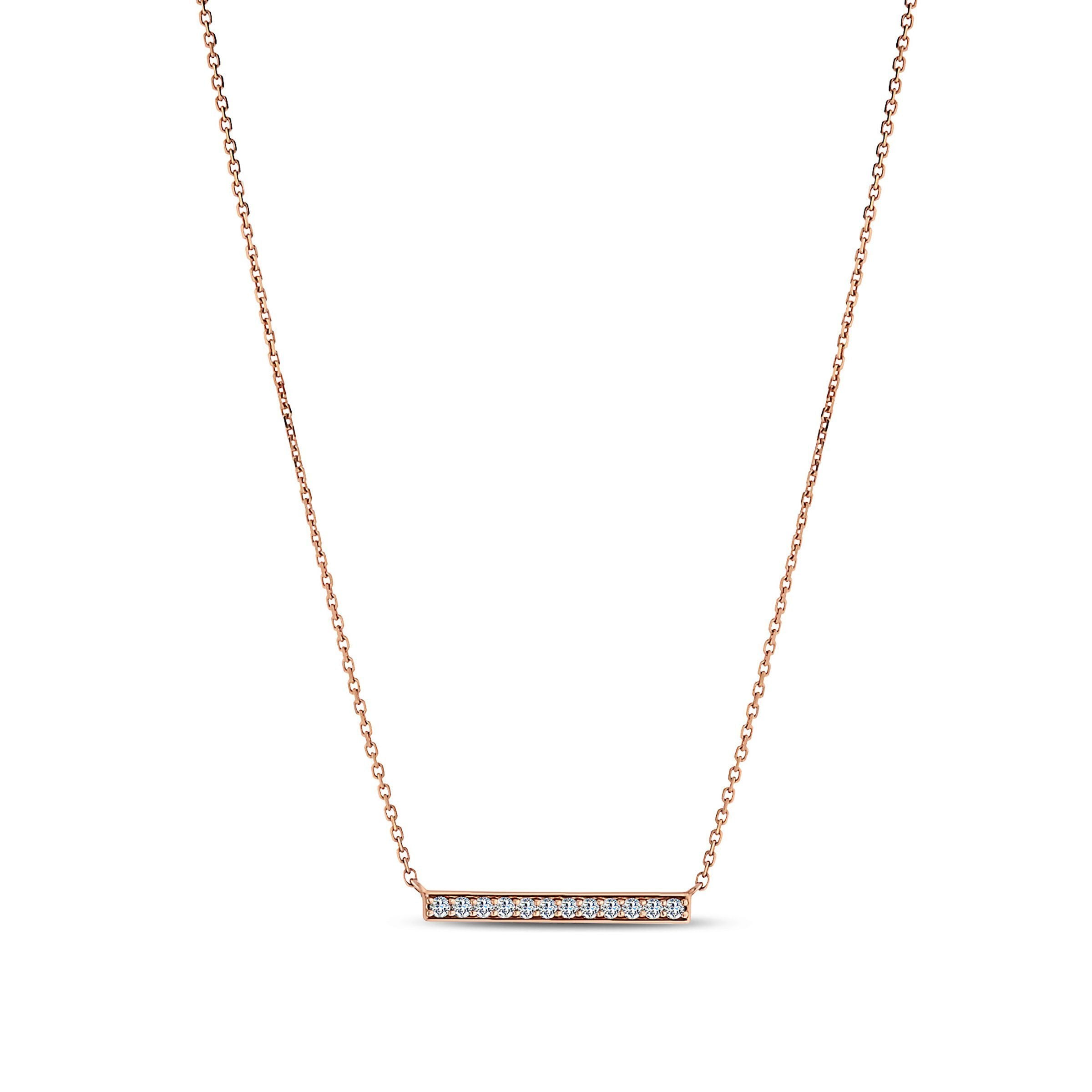 Diamond Bar Pendant in 14K Rose Gold