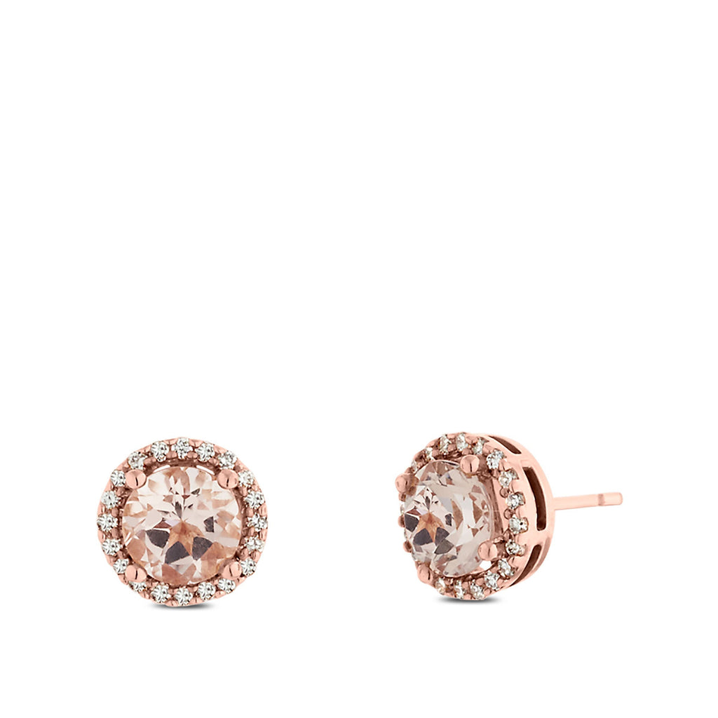 Morganite Stone Earrings in 14K Rose Gold