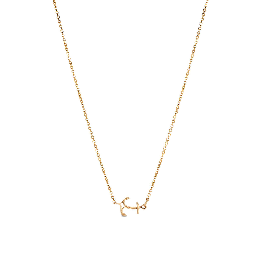Curved Anchor Pendant Necklace in 14K Yellow Gold