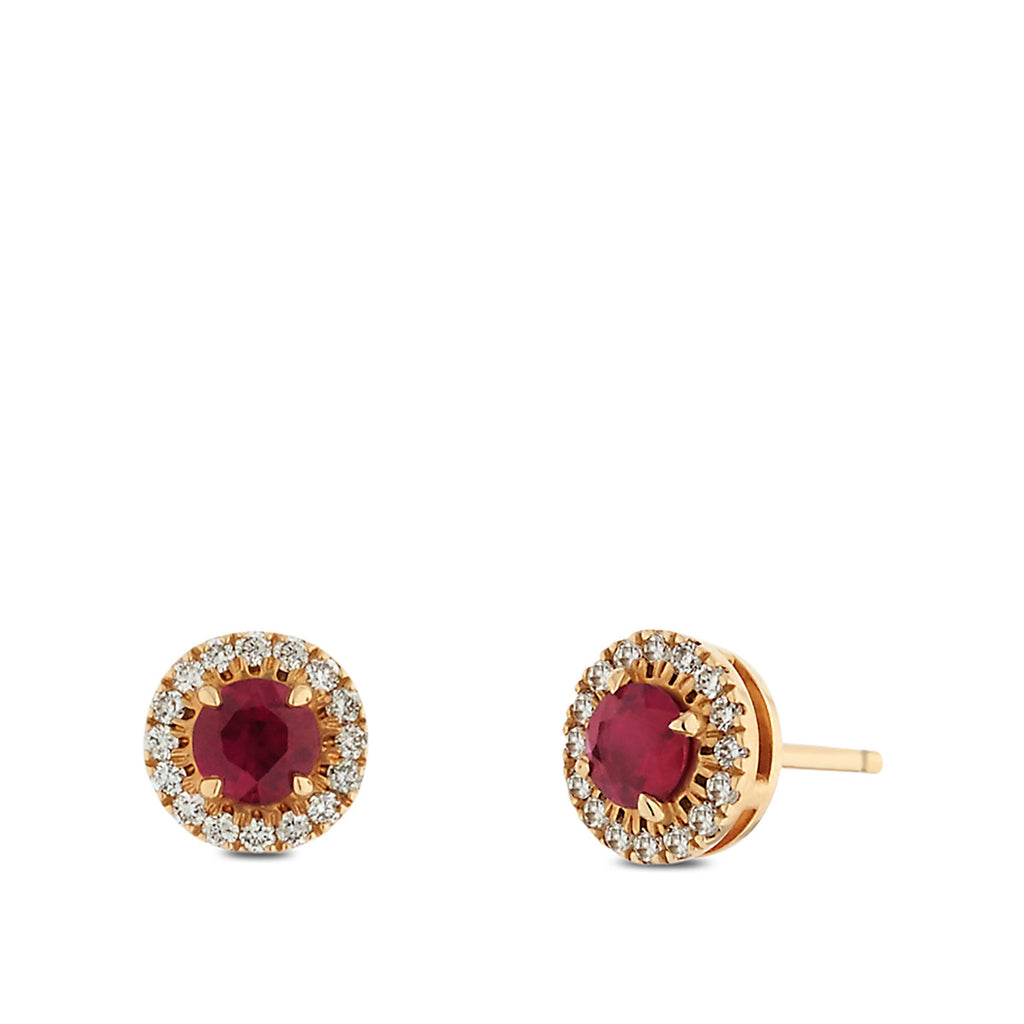Ruby & Diamond Stud Earrings in 14K Yellow Gold
