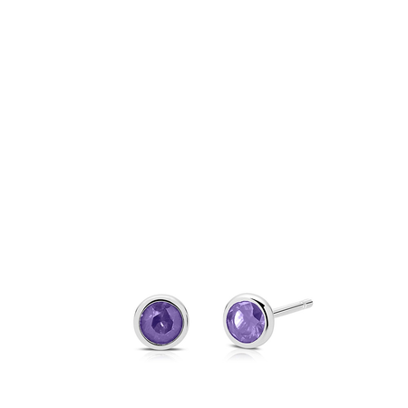 Amethyst Bezel Stud Earrings in Sterling Silver