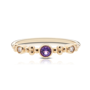 Diamond & Amethyst Bezel Stackable Ring in 14K Yellow Gold