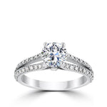 Ritani 1ct Round CZ Center Diamond Bridge & Split Shank Semi-Mount Engagement Ring