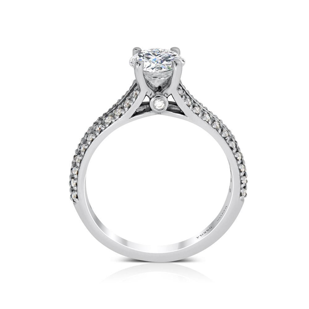 Ritani .75ct Round CZ Center Diamond Bridge & Split Shank Semi-Mount Engagement Ring