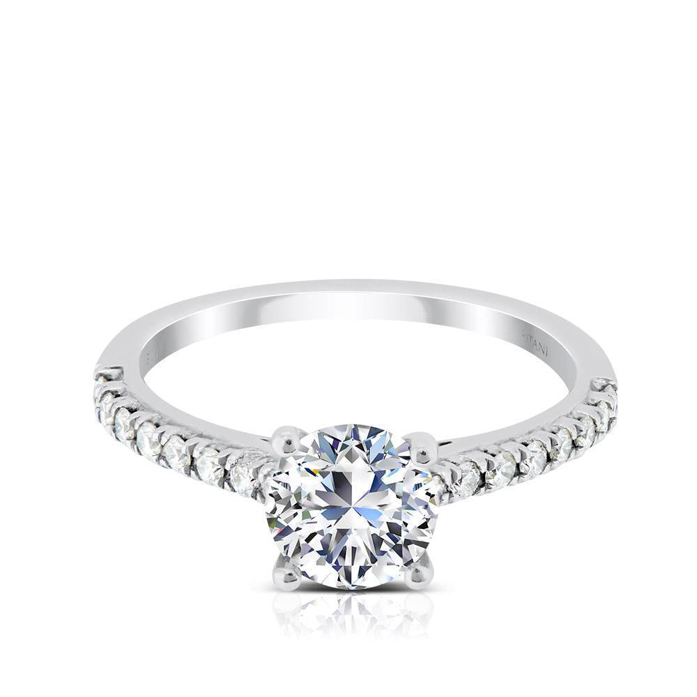 Ritani .75ct Round CZ Center Stone Diamond Shank Semi-Mount Engagement Ring
