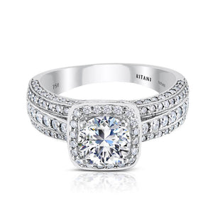 Ritani 2ct Round CZ Center Stone Diamond Halo 18K White Gold Semi-Mount Engagement Ring