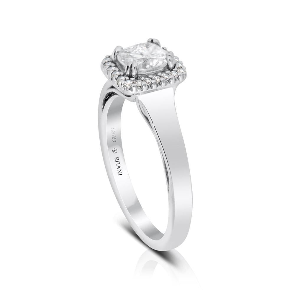 Ritani .82ct Round CZ Center Cushion Diamond Halo Semi-Mount Engagement Ring